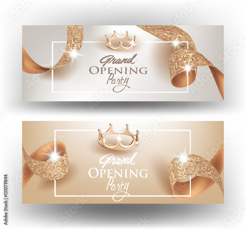 Elegant Grand opening invitation cards with textured curly beige – Grand Opening Invitation Cards