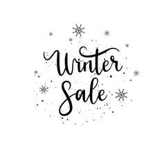 Vector Winter sale hand lettering calligraphy label and shape on white background.