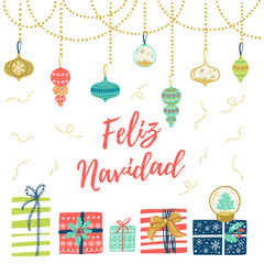 Feliz Navidad hand lettering Christmas and New Year holiday calligraphy on Spanish. Vector winter holiday background with hand lettering calligraphy, confetti, balls, garland elements.
