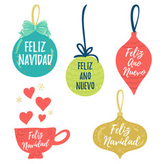 Feliz Navidad hand lettering Christmas and New Year holiday calligraphy on Spanish. Vector winter holiday background with hand lettering calligraphy, balls, cup elements.