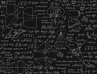 Mathematical vector seamless pattern with handwritten formulas, calculations, equations, chalk on grey board text effect