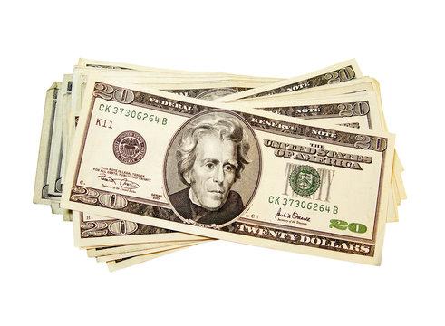 Money cash. $20 dollar bills. Currency.