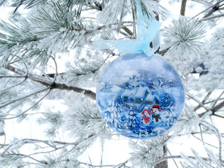 christmas decoration composition on fir background