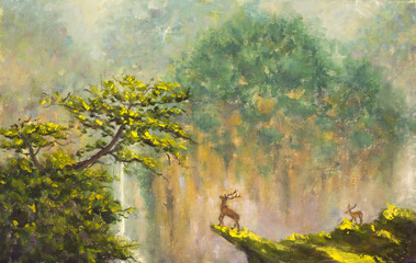 Original oil painting of deer on the edge of a cliff in a mountain forest on canvas. Modern Impressionism Art. Artwork.