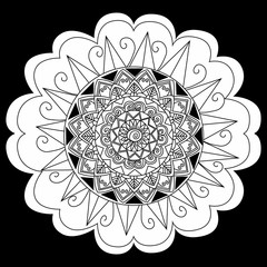 Mandala flower on black background coloring vector for adults