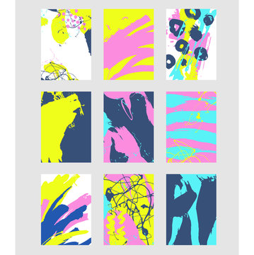 Set of multicolor abstract pattern with creative texture. Vector illustration: paint strokes, spray. Hand drawn background.