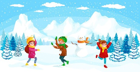 Winter kids Vector illustration. Boy and girl playing in snowballs. Funny cartoon character. christmas cards