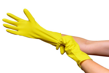 Dress yellow rubber cleaning gloves closeup.