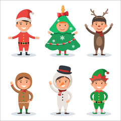 Kids in Christmas holiday costumes