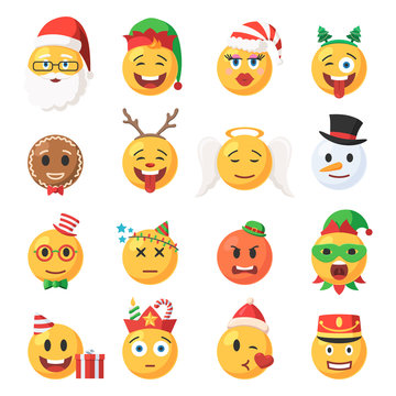 Set of Christmas Emoticons icons