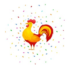 Vector illustration of rooster, cock, symbol of  New Year  on the Chinese calendar. Merry Christmas, happy New Year illustration. greeting card