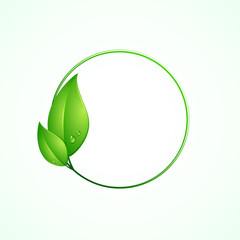 Eco friendly concept, green round frame with leaves, vector illustration