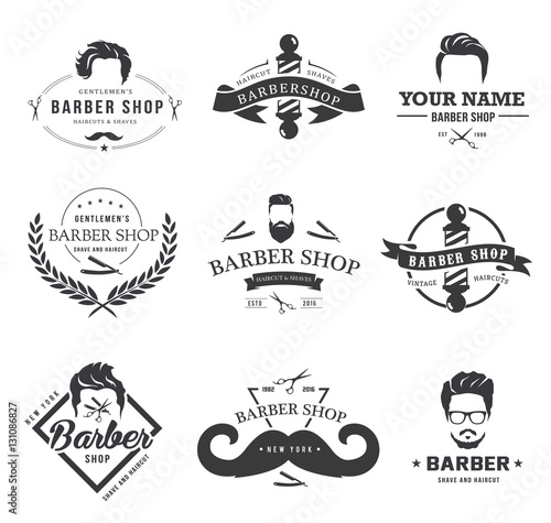 quotset of vintage barber shop logobarber graphics and icons