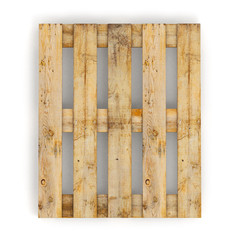 Wooden pallet. Isolated on white.3D illustration..