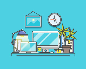 Workplace in outlines. Line art vector illustration