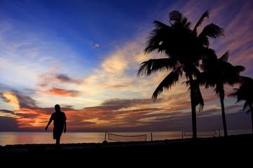 silhouette painting beautiful sunrise