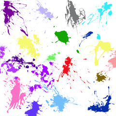 Abstract background with paint stains in different colors