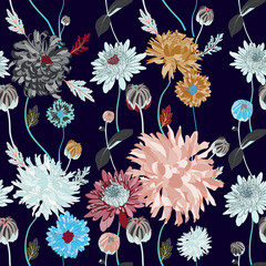 asian flower illustration seamless pattern