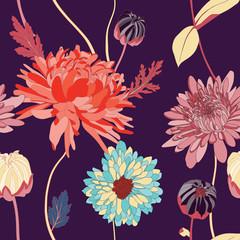 asian flower illustration seamless pattern