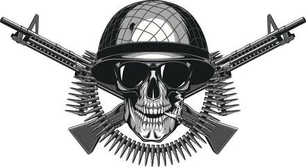 Skull in helmet cheloeka