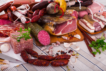 Variety of meats on table