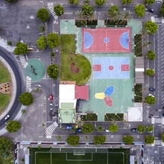 Colorful sports playgrounds in Maspalomas.