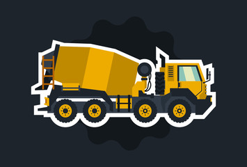 Concrete mixer. Yellow truck with special equipment. The object circled white outline on a dark background. Construction machinery. Flat style