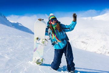 Woman, snowboard winter, goggles