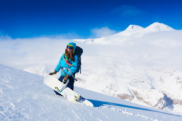 Woman, snowboard winter, lift, goggles, elbrus