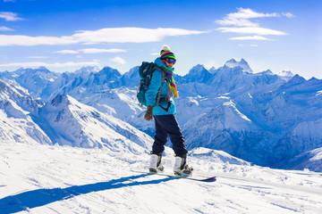 Woman, snowboard winter, rides, goggles, elbrus
