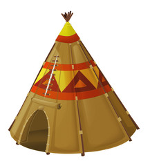 Cartoon traditional tent - tee pee - isolated - illustration for children