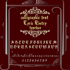 Vintage calligraphic-brush font named Lyric Poetry . Handwritten smooth typeface