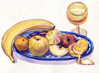 Fruits and wine. Banana, lemon, pomegranate, Mandarin, Apple on the plate. Painting watercolor