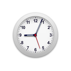 Realistic vector illustration of wall clock. Monitor the time.