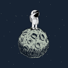 Cartoon astronaut standing on the moon
