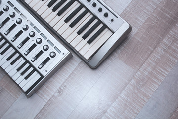 Close up MIDI Controller, keys  and feders