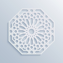 Islamic geometric pattern. Vector muslim mosaic, persian motif. Elegant white oriental ornament, traditional arabic art. Mosque decoration element. 3D mandala for brochures, invitations, greeting card