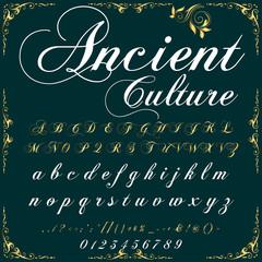 Script Font Typeface ancient culture  vintage script font Vector typeface for labels and any type designs