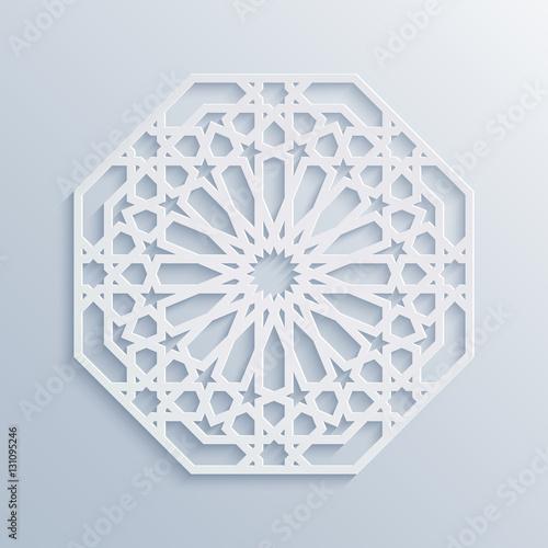 islamic geometric pattern vector muslim mosaic persian motif elegant white oriental ornament