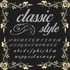 Script Font Typeface classic style vintage script font Vector typeface for labels and any type designs