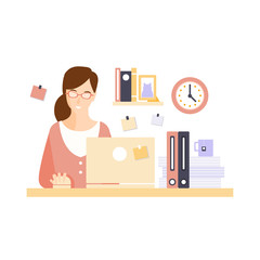 Content Woman Office Worker In Office Cubicle Having Her Daily Routine Situation Cartoon Character