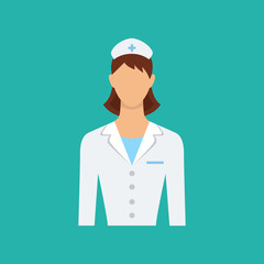 Flat web icon. Female doctor, nurse. Isolated vector character.
