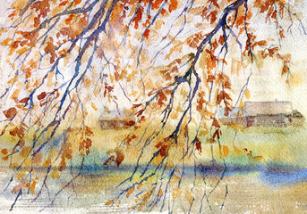 Landscape with autumn leaves,river and village house.Fall image.Watercolor hand drawn illustration.