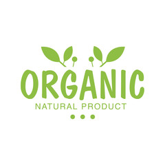 Vegan Natural Food Green Logo Design Template With Plants Promoting Healthy Lifestyle And Eco Products
