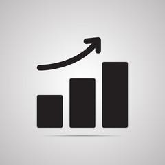 Векторная иллюстрация иконка простой символ плоский для веб rectangle график рост подъем
