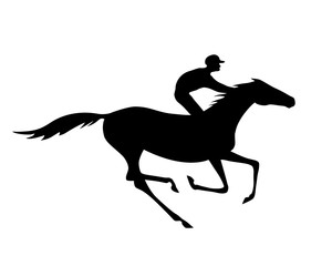 Black jockey and horse silhouette with gallop motion on white. Vector horse-race and rider.