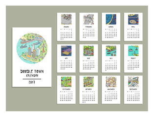 Doodle town calendar of 2017. Map drawn by hand. Vector. Isolated.