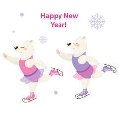 Cute polar bears, beautiful dancer on skates isolated on white background, perfect for new year cards and patterns. Vector illustration