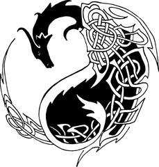 abstract dragon with yin yang symbol