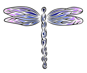 Drawing of a dragonfly, abstract illustration.